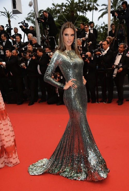Alessandra-Ambrosio-Wore-a-Long-Glitter-Dress-By-Roberto-Cavalli-at-Cannes-On-The-Red-Carpet