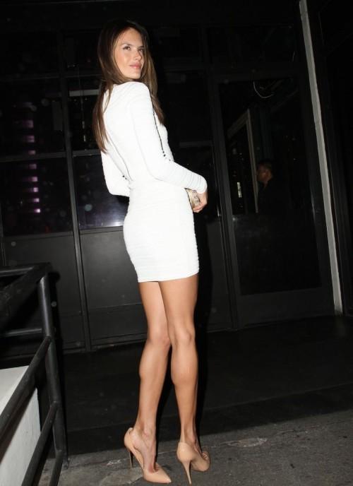 Alessandra Ambrosio - white dress + nude heels